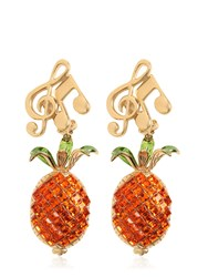 Dolce And Gabbana Pineapple Music Note Clip On Earrings