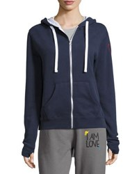 Peace Love World Patchwork Zip Front Fleece Hoodie Navy