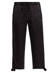 Figue Fiore Polka Dot Print Silk Satin Trousers Black