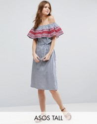 Asos Tall Off Shoulder Midi Sundress In Stripe Cotton With Embroidery Blue Red Multi