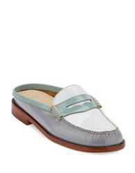 G.H. Bass Wynn Patent Leather Slide Loafers Light Blue Grey