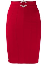 Philipp Plein Stretch Cady Fitted Skirt Red