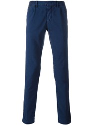 Incotex Satin Effect Skinny Trousers Blue