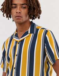 Brooklyn Supply Co. Co Revere Collar Shirt With Vintage Vertical Stripes In Yellow