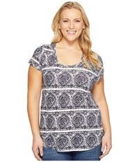 Lucky Brand Plus Size Geo Striped Tee Blue Multi Women's T Shirt