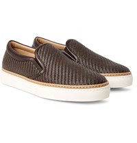Ermenegildo Zegna Pelle Tessuta Leather Slip On Sneakers Brown