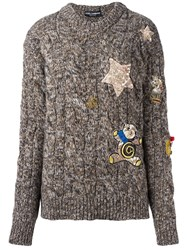 Dolce And Gabbana Embellished Marled Jumper Brown