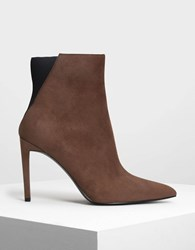 Charles And Keith Pointed Stiletto Calf Boots Mauve