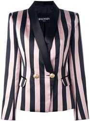 Balmain Striped Single Button Blazer Black