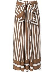 Tome Baja Striped Draped Tie Skirt Brown