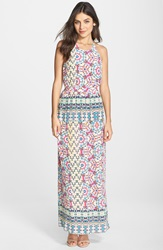 Charlie Jade Mosaic Print Open Back Maxi Dress Pink Multi