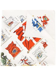 Hermes Vintage Flag And Province Scarf White