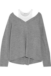 Alexander Wang T By Layered Cotton Jersey And Merino Wool Sweater Gray