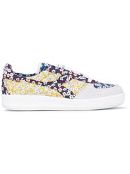 Diadora Elite Liberty Floral Patch Sneakers Women Cotton Suede Leather Rubber 6.5