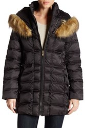 Betsey Johnson Quilted Puffer Lace Up Faux Fur Trim Hooded Jacket Black