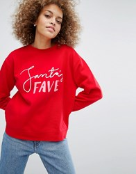 Monki Santas Fave Christmas Sweatshirt Red