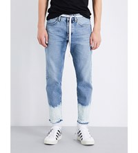Off White C O Virgil Abloh Sprayed Hem Straight Fit Cropped Jeans Bottom Bl