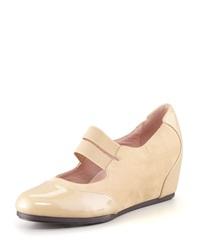 Taryn Rose Danelle Low Wedge Mary Jane Beige