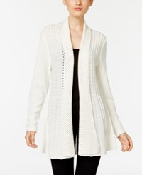 Ny Collection Ribbed Open Front Cardigan White