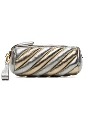 Anya Hindmarch Silver And Gold Metallic Marshmallow Leather Clutch