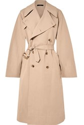 Bassike Belted Cotton And Linen Blend Trench Coat Beige