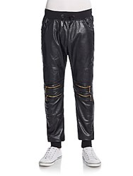 American Stitch Faux Leather Front Moto Jogger Pants Black