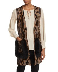 Kobi Halperin Ginette Animal Print Sweater Vest With Fur Trim Camel Multi