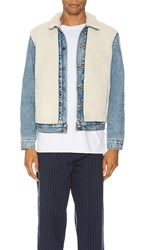 Levi's Premium Sherpa Panel Trucker In Blue. So Sheepy