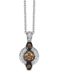 Le Vian Chocolatier White And Chocolate Diamond Deco Pendant Necklace 1 3 Ct. T.W. In 14K White Gold