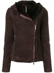 Giorgio Brato Shearling Hooded Jacket Red