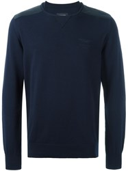 Hackett Shoulder Panel Jumper Blue