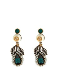 Gucci Pearl Effect Embellished Flower Earrings Green