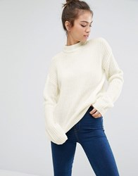 Pull And Bear Pullandbear Knitted Jumper In Rib With High Neck Cream