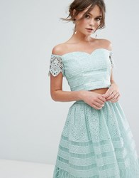 Chi Chi London Crop Top In Panelled Lace Green
