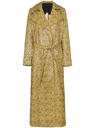 Michael Lo Sordo Snake Print Belted Trench Coat Yellow
