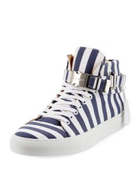 Buscemi Men's 100Mm Striped Canvas High Top Sneaker Blue Ink Blue White