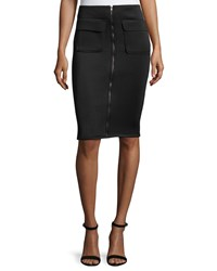 Romeo And Juliet Couture Scuba Zip Front Pencil Skirt Black