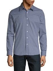 Hyden Yoo Slim Fit Checkered Cotton Button Down Shirt Navy