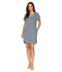 Allen Allen Stripe Short Sleeve Vee Dress With Pockets Lapis Navy