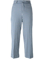 Incotex Gingham Check Cropped Trousers Blue