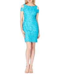Tahari By Arthur S. Levine Cold Shoulder Lace Dress Turquoise