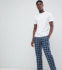 Ted Baker Lounge Pants And T Shirt Set In Check Navy