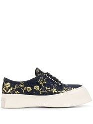 Marni Floral Embroidered Flatform Sneakers Blue