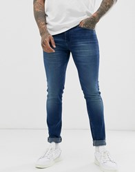 Boss Charleston Skinny Fit Jeans In Mid Wash Blue