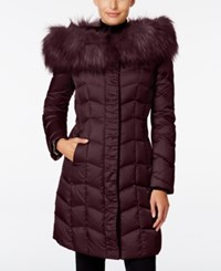 Tahari Faux Fur Trim Hooded Puffer Coat Merlot
