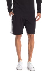 True Religion Side Stripe Knit Sweat Shorts Black White