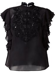 Manoush Embroidered Sheer Blouse Black