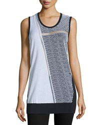 Cnc Costume National Sleeveless Scoop Neck Colorblock Top Multi Colors Women's