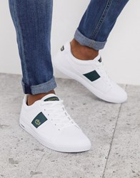 Lacoste Europa Trainers With Green Stripe White