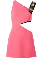 Fausto Puglisi Cut Out Applique Sheath Dress Pink And Purple